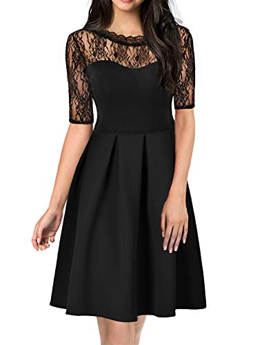 Retro Dresses for Women 60s 50's Vintage Hlaf Sleeve Work Casual Formal Evening Cocktail A line Hawaiian Holiday Party Dress for Ladies 921 Black M