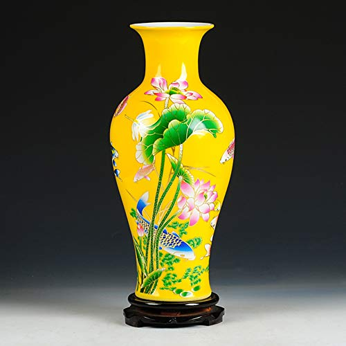 Yellow Chinese vase Antique Ceramic Chinese vase with Base Decorative Porcelain Vase Traditional Porcelain Flower vase Modern Home Centerpiece-A H38cmxW17cm
