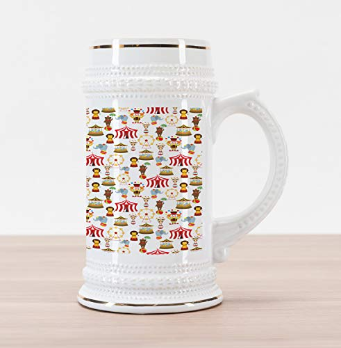Ambesonne Circus Beer Stein Mug, Circus Elephant Bear Monkey Animals Merry Go Round Magic Classic Celebration Print, Traditional Style Decorative Printed Ceramic Large Beer Mug Stein, Multicolor (Monkey Merry Gym)