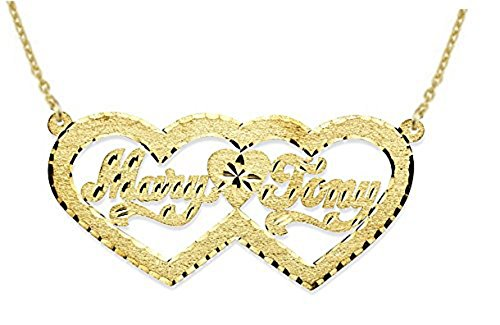 Rylos Personalized Double Heart Satin Diamond Cut Nameplate Necklace 14K 14K White or 14K Yellow Gold. Special Order, Made to Order. ()