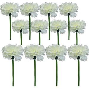 Lily Garden 12 Stems Artificial Carnation Flower Silk Bouquet (Whte) 106