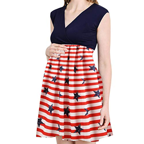 Aurorax T-Shirt 4th of July Womens Pregnant Maternity Soft Tank Dress Ladies Sleeveless Blouse American Flag Printing Cool Feel Clothes Vest (Blue, L)