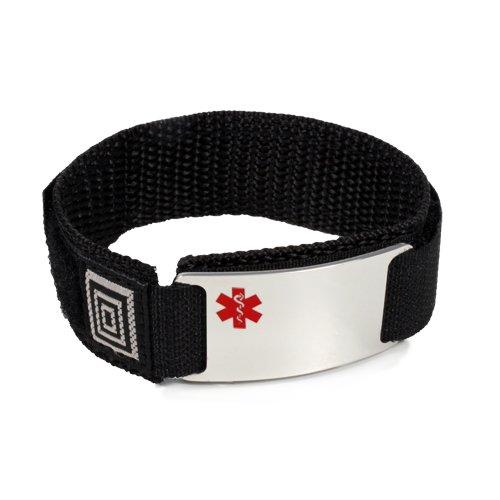 Anti-COAGULANTS Sport Medical ID Alert Bracelet with Black adjusable Wrist Band Hooks and Loops .