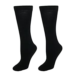 Gold Toe Women's Little Pima Cotton Trouser Socks, 2 Pairs, Black, Shoe Size: 6-9