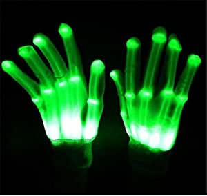 NPLE--LED Light Gloves Finger Lighting Electro Rave Party Dance Skeleton Halloween New