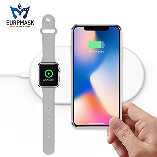 Dual Wireless Fast Charger, 2-in-1 Wireless Charging Pad Induction Charger Base for Apple Watch Series 4/3/2/1 & iPhone XS Max iPhone 8 Plus Samsung Galaxy S8/S9/Plus/Note 8/S7 & All Qi-Enabled Device