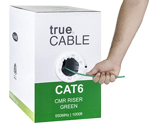 Cat6 Riser (CMR), 1000ft, Green, 23AWG 4 Pair Solid Bare Copper, 550MHz, ETL Listed, Unshielded Twisted Pair (UTP), Bulk Ethernet Cable, trueCABLE