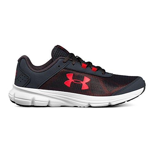 Under Armour Boys' Grade School Rave 2, Stealth Gray/White/Red, 4 M US Big (Grade School Shoes)