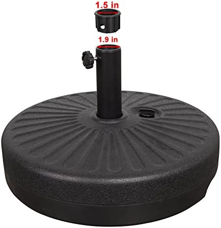 Sundale Outdoor Bliss Wicker Resin Black Patio Umbrella Base Metal Heavy Duty Stand Black
