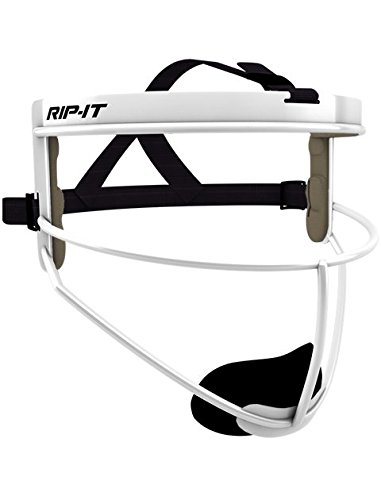 RIP-IT Defense Softball Fielder's Mask - Lightweight Secure Fit Provides Maximum Protection and Comfort - Does Not Obstruct View - Ponytail Friendly - White - Adult