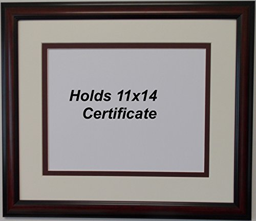 Graduation Diploma College or University 11x14 Oversize Certificate Document Double Mat Brown (University Cherry Wood)