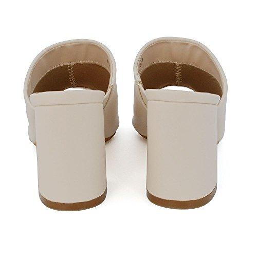 ESSEX GLAM Mujer Tacón ancho Hebilla Ponerse Peep Toe Cuero Sintético Sandalia Desnudo Cuero Sintético