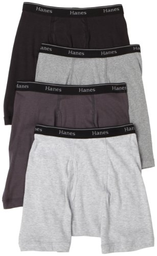 Hanes Classics Men's 4-Pack Multi-Color Boxer Brief, Grey/Black, Large