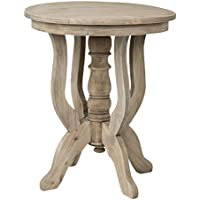 East at Main Boyd Brown Rubber wood Round Accent Table, (24x24x28)