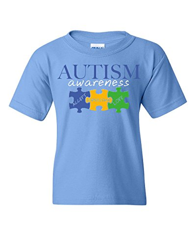 Autism Awareness Youth T-Shirt Accept Understand Love Inspire Support Kids Tee Light Blue S
