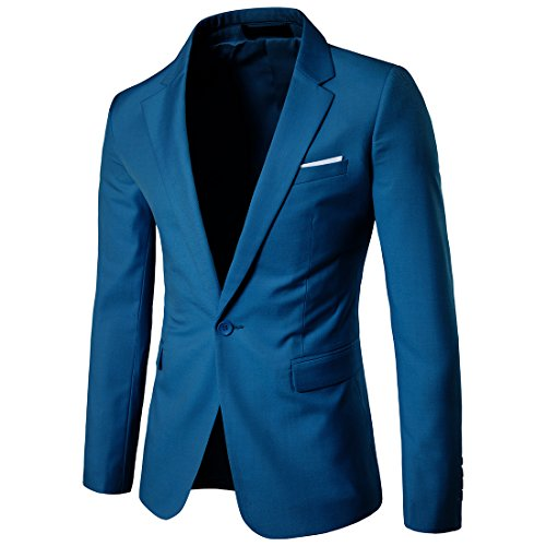 Cloudstyle Mens Suit Jacket One Button Slim Fit Sport Coat Business Daily Blazer, Blue, Large from Cloudstyle