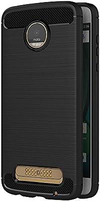 Funda para Motorola Moto Z2 Play (5,5 Pulgadas) TPU Silicona Carcasa Fundas Protectora con Shock Absorción y Diseño de Fibra de Carbon (Negro)