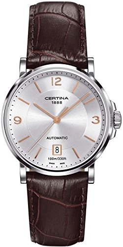 Certina DS Caimano Automatic Silver Dial Brown Leather Mens Watch C017.407.16.037.01