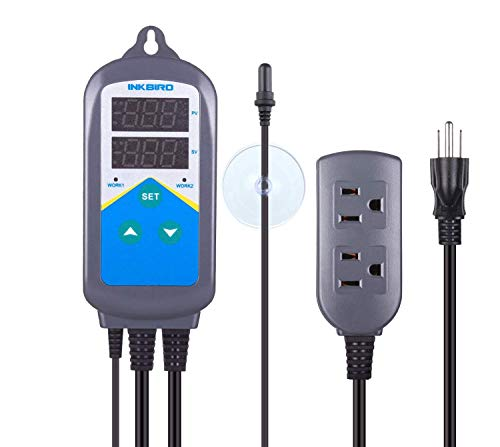 Inkbird Heating Thermostat Aquarium Reptile Submersible Probe Sensor ITC306T Relay Digital Greenhouse Temperature Controller Dual Stage Timer Switch Only Heat Plug Outlet No Cooling