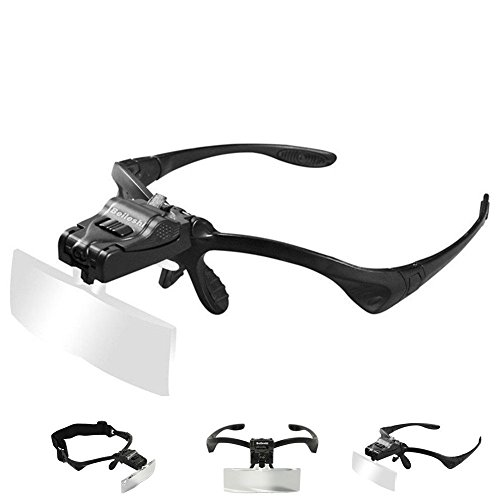 (Beileshi Headhand Magnifier Glasses With 2 LED Professional Jeweler's Loupe Light Bracket and Headband are Interchangeable 5Lens Glass Magnifying Visor)