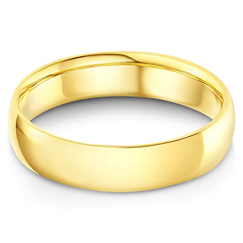 (Ioka - 14k Solid Yellow Gold 5mm Plain Comfort Fit Wedding Band - size 10)