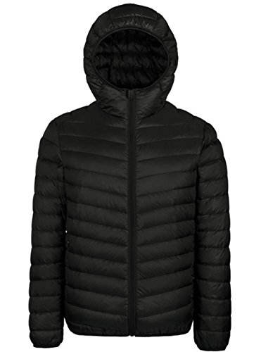 Boys Duck Active Jacket (ZITY Hooded Packable Down Jacket For Youth,Water Repellent Jacket,Black L)