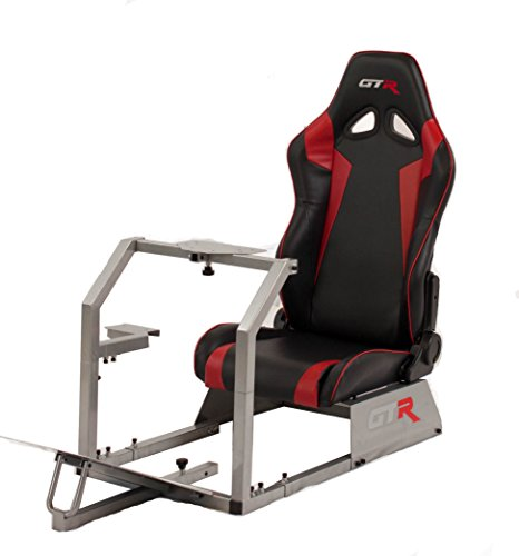 GTR Racing Simulator GTA-S-S105LBKRD GTA Model Silver Frame with Black/Red Real Racing Seat, Driving Simulator Cockpit Gaming Chair with Gear Shifter Mount