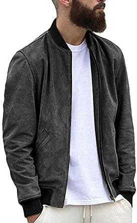 Makkrom Mens Slim Fit Suede Bomber Jackets Lightweight Zip Up Varsity Baseball Jacket Casual Fall Outwear