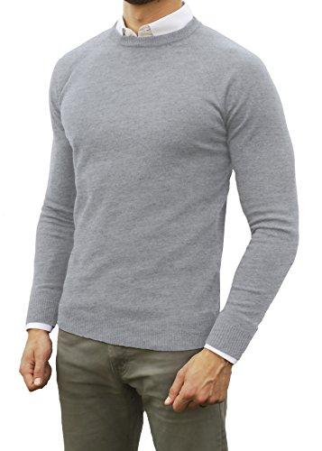 Comfortably Collared Men's Perfect Slim Fit Lightweight Soft Fitted Crew Neck Pullover Sweater, Medium, Heather (Lightweight Cotton Crewneck Sweater)
