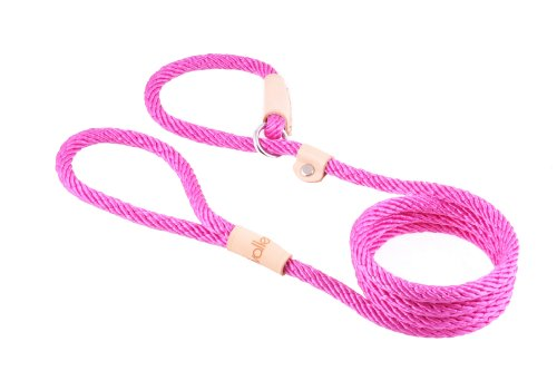 Leash Pet Polypropylene (Alvalley Hot Pink Sport Slip Lead with Leather Stop for Dogs Made of Strong Multifilament Polypropylene Rope (8mm X 183cm or 5/16 in X 6ft))