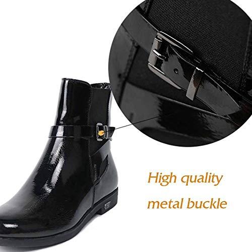 Deportes Felpa Invierno Zapatos Simple Aire Botas Botines Mujer Para Libre De Mocasines Al Cálido Cuero Black Pisos qHwXXY1nP