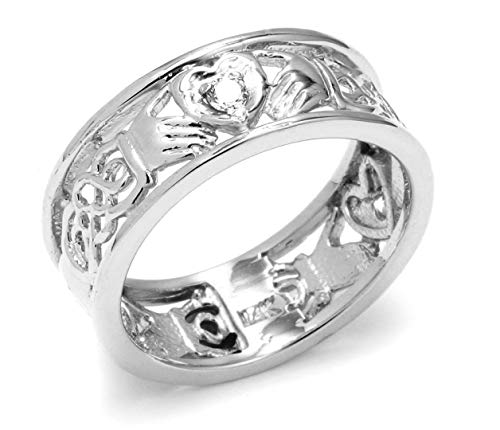14k White Gold Diamond Claddagh Wedding Ring with Celtic Knot Band (12.25)