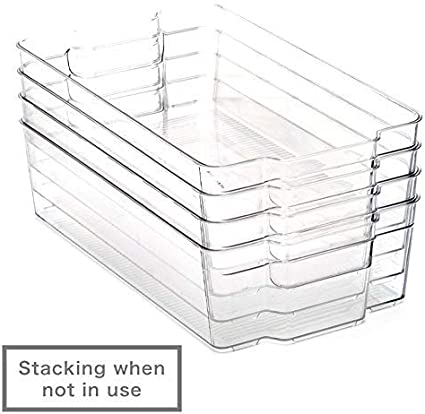 EZOWare Kitchen Storage Bins Freezer Shelves Cabinets Pack of 4 Bathroom Pantry Large Clear Stackable BPA-Free Organizer Containers with Handles for Refrigerator 37 x 21.5 x 10cm