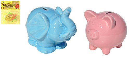 - Best Set of 2 Ceramic Pink Piggy and Blue Elephant Piggy Coin Bank Fun Last Minute Valentine Day Birthday Easter Basket Stuffer Gift Idea Under 10 Dollars for Girl Boy Kids Baby Toddler