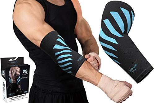 Physix Gear Elbow Brace for Tendonitis - Best Compression Arm Sleeve, Tennis Elbow Brace & Elbow Compression Sleeve for Elbow Support, Tennis Elbow Treatment & Elbow Sleeve Weightlifting 1pk Blue M