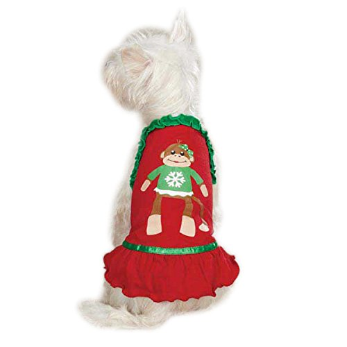 East Side Collection Polyester/Cotton Holiday Monkey Business Dog Dress, X-Small