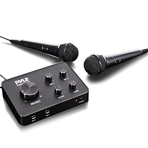 Upgraded Version Portable Home Theater Karaoke Microphone Mixer System Complete Set with Dual Mic Settings, Two Wired Microphones, HDMI & AUX - Works with TV, Receiver, Amplifier, Speaker & More