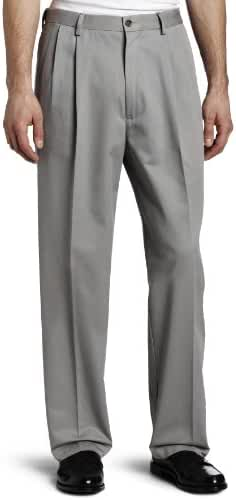 Haggar Men's Work-To-Weekend No-Iron Pleat-Front Pant with Hidden Expandable Waist