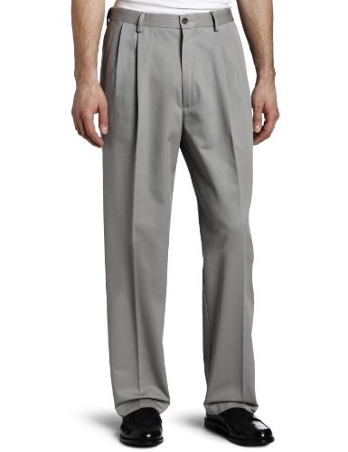 Haggar Men's Work To Weekend Khakis Hidden Expandable Waist No Iron Pleat Front Pant,Griffin,36x29