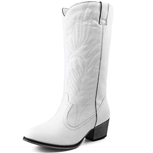 Women's DailyShoes Embroidered Legend Western Cowboy Knee High Boot, White
