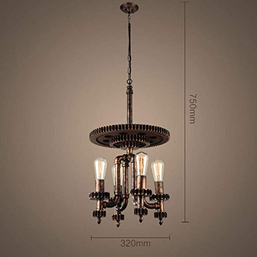 XQY Decorative Chandelier-Retro Industry Pendant Light Chandelier Creative Iron Art Pendant Lamp Water Pipe Wrought Iron Chandelier Hanging Light Ceiling Hanging Lamp Indoor Lighting Hanging Pendant