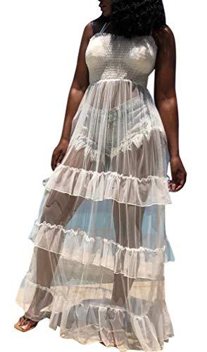 (TshineY Women Sleeveless Sheer Mesh Bodycon Maxi Dress Bodysuit Party Clubwear White)