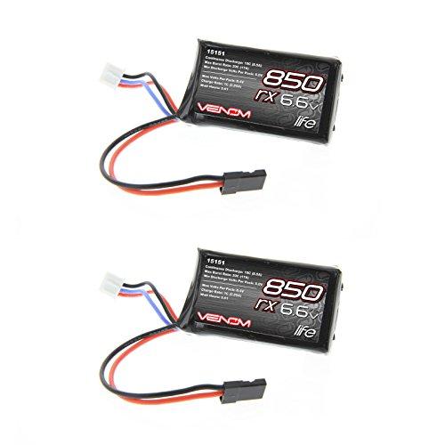 Venom 10C 2S 850mAh 6.6V LiFe TX/RX Transmitter and Receiver Battery 2 Packs (10c Li Poly Battery)