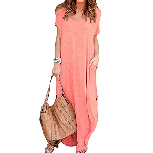 - Women's Casual Loose Pocket Long Dress Short Sleeve Split Maxi Dresses Pink