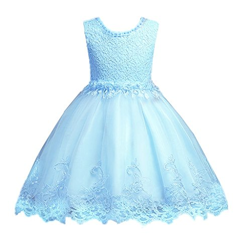 DreamHigh Flower Girl's Floral-Embroidered Pearl Embellished Evening Dress Up Sky Blue - 4Y