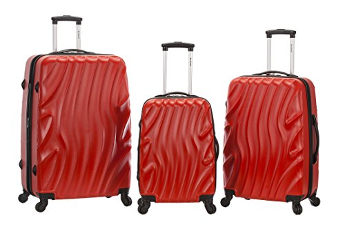 Rockland Melbourne 3 Piece Abs Luggage Set, Redwave, One ...