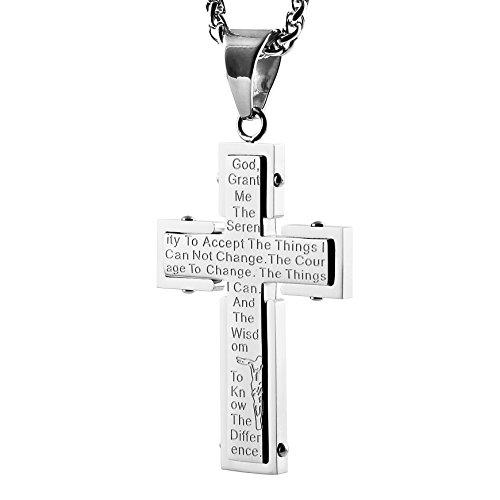 HZMAN Bible Verse Prayer Necklace Christian Jewelry Stainless Steel Jesus Cross Crucifix Pendant (Silver) -