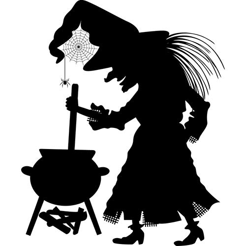 wanghan Cauldron Spider Witch Wall Sticker for Kids Room Vinyl Removable Art Wall Decal Halloween Home Decoration Accessories 55X63 for $<!--$30.43-->