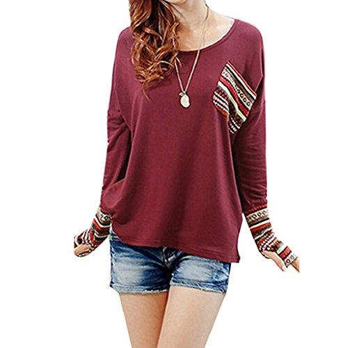 FEITONG mujer de manga larga Cuello redondo Algodón Chequeado Tapas flojas de la blusa 5 colour Rojo