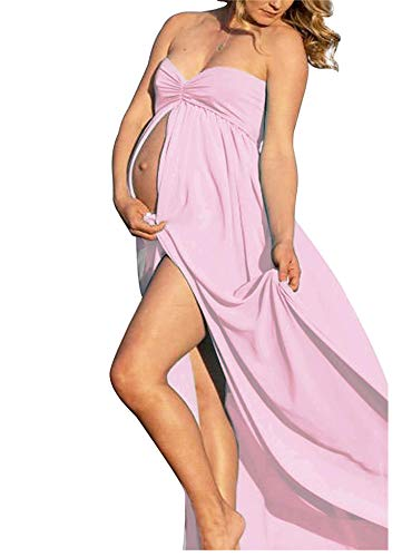 Pink Maternity Off Shoulder Tube Chiffon Gown Split Front Strapless Maxi Pregnancy Photography Dress for Photo Shoot and Baby Shower
